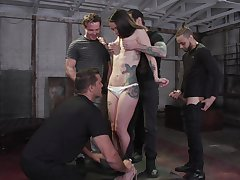 Tattooed harpy Vanessa Vega is fucked and jizzed wits several exploitatory guys