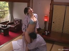 Smooth lovemaking on the bed with with an eye to natural tits housewife