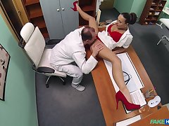 Mea Melone and an older doctor fuck in the examination compass