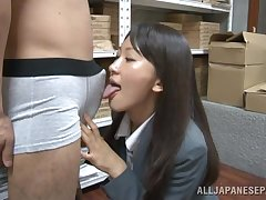 Simmering Japanese office foetus Kozue Hirayama drops on her knees to give head