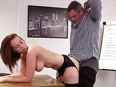 Elegant redhead suits her boss with mesmerizing sex