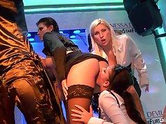 Crazy drunk girls hot sex statute in rub-down the club