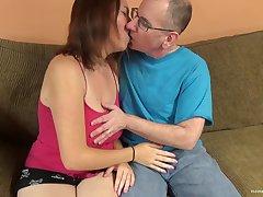 Big titty amateur cutie lets an venerable chap pound her cunt