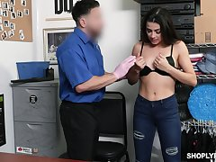 Slender girl Kylie Rocket is fucked hard by one kinky security guy