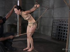 Small boobs Elise Graves hanged upside forth together with spanked by a guy