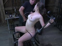 Perverted buxom hoe Charlotte Vale is all cuffed and teased in all directions hardcore mode