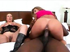 Hardcore interracial triple goes anal