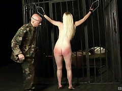 Sexy blonde prisoner Angel Spice destined up and frowardness fucked