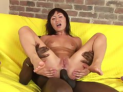 Wild interracial anal sex between a big black dude and an Asian whore