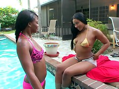 Poolside pleasures for dark lesbians Carmela Mulatto with an increment of Trina Boss