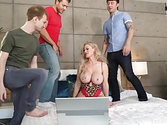 Cougar mom butt fucked in gangbang scenes by the son and his public limited company