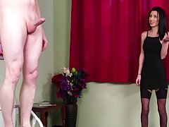 Intense action for the brunette woman in a black dress