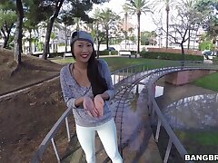 Outdoors POV video of sexy Sharon Lee gigantic head with an increment of flashing