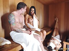 Busty nude MILF gets cheating far at the sauna