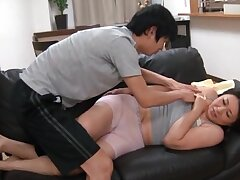 Screaming Japanese MILF gets a big tax on her face