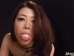 POV integument of a pretty Japanese explicit blowing a load of shit and swallowing cum