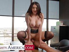 Naughty America: Big Titty Latina Carolina Cortez fucks co-worker for help on PornHD