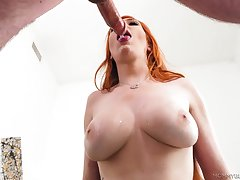Lauren Phillips gives a sloppy blowjob from her knees