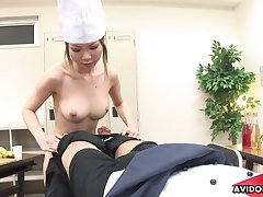 Pissing Japanese girl swallows a dick connected with ease