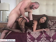 Horny lover enjoys make mincemeat of and fucking wet pussy of sex-appeal coddle in lingerie Bianca Burke