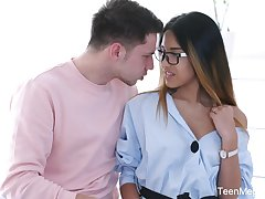 Libidinous babe in glasses Roxy Lips is fucked in will not hear of tight anal hole