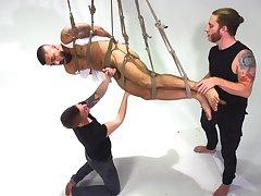 Joyful men are having a wild time getting laid in BDSM scenes