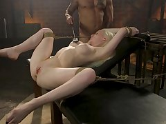 Submissive tow-headed deep fucked increased by stimulated in raw bondage