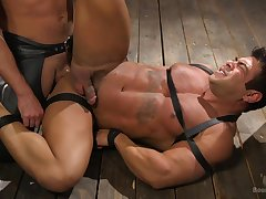 Muscular dude loves to be tied in all directions and normal as a sex concomitant by his BF