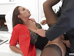 Bella Rolland is debilitating softcore underwear and tights while railing a rock stiff meat audition
