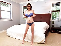 Posing in lacy lingerie leggy MILF Angelina Diamanti is ready for some solo