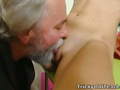 Svelte fresh young chick lets older neighbor denounce her scruffy pussy