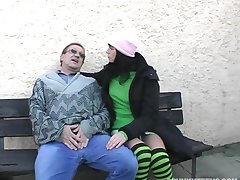 Amateur going to bed in rub-down the outdoors with cum in mouth for chap-fallen Renate