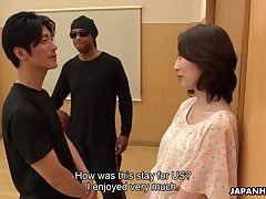 Asian milf Aya Kisaki gets intimate with one young dude and gets her pussy creampied