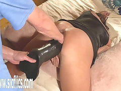 Double Left-hand and Colossal Dildo Fucked Wife