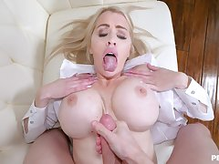 Spacious detect blonde wife Katie Monroe takes a long detect nearby her pussy