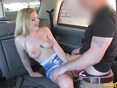 Fake cab XXX performance with a sensual young blonde